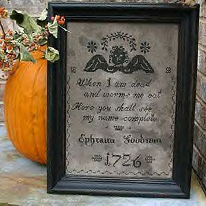 tombstone angel framed sampler